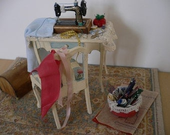 Dollhouse Miniature One Inch Scale Sewing Room Setting