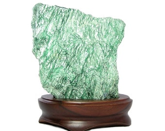 Green Fuchsite Mica, Chatoyant Lustrous Green Chrome Muscovite in Wooden Stand Natural Large Display Geo Specimen for rock and mineral curio