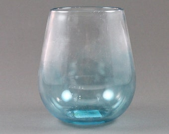 Spotted Orange-Hand Blown-Stemless Wine Glass