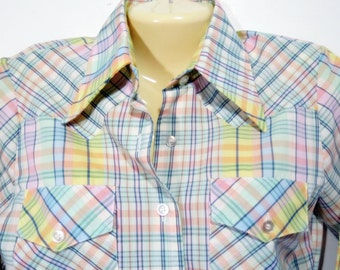 Plaid Western Blouse in Pastel Colors Size Medium 10 - 12  Vintage Country Cowgirl Permanent Press
