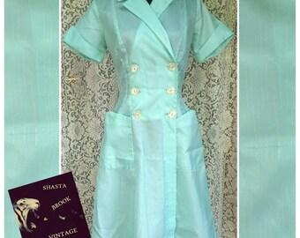 1950s Authentic Mint Green Waitress Uniform - Retro Waitress Dress - Ice Cream Cafe Car Hop Style - Rockabilly Pinup Style - Womens Medium