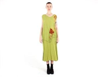 SALE - 80s Indonesian Batik / Tribal Gauze Lime Green Floaty Free Size Festival Midi / Maxi Dress - Faux 2 Piece Top + Skirt