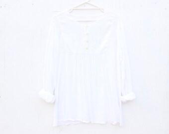 90s Dreamy Thin Gauze Babydoll Peasant Blouse / Floaty Free Size Hippie Mini Dress Top