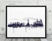 New York City Skyline Watercolor Print. Black & White Ink Print New York Cityscape NYC Art. Modern Wall Art Home Office Decor. Printable Art