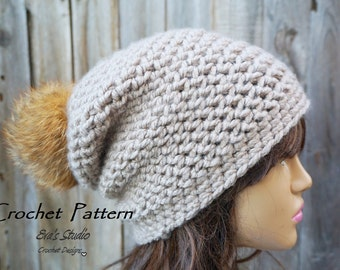 Crochet Hat - Instant Download Crochet Pattern - Hat Crochet Pattern - Crochet Hat Pattern for Slochy Hat - Womens Accessories