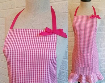 FREE SHIPPING Bright Pink Gingham Plaid Apron with Pocket, Ruffle and Bow - Can be Personalized, Pink and White, Made in America