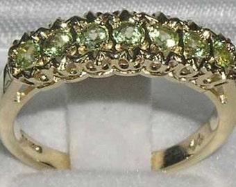 9K Yellow Gold 7 Natural Peridot Engagement Ring, Stackable Ring, English Victorian Design Half Eternity Band -Customize:14K,18K