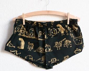 Organic Pyjama Shorts (Black & Gold)