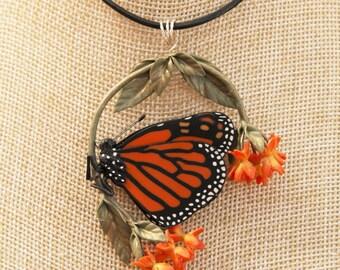Monarch on Butterfly Milkweed Pendant