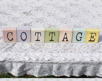 painted wood block letters cottage chic home decor wooden shabby chic colors name rustic weathered distressed spell alphabet