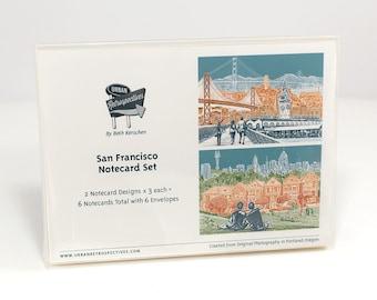 San Francisco Notecard Set - full color - California - 6 folded Greeting Cards