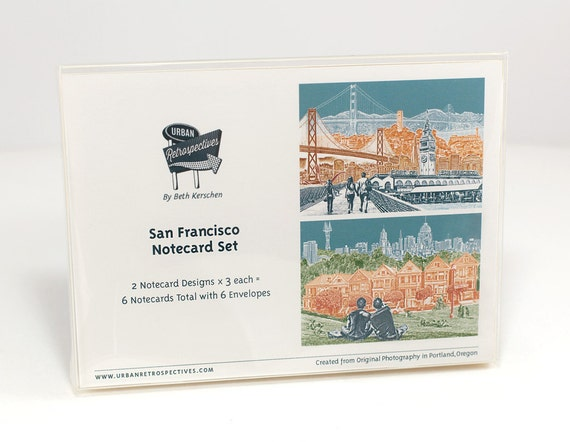 San Francisco Notecard Set - full color - California - 6 folded Greeting Cards