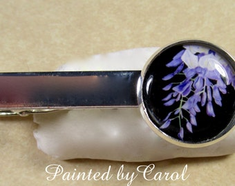 Wisteria Tie Bar, Purple Wisteria Tie Clip, Wisteria Tie Tack, Wisteria Pin, Wisteria Gifts, Wisteria Mens Gifts, Father's Day Gifts