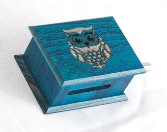 Owl decor custom turquoise music box own individual or optional music