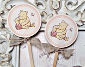 Classic Winnie the Pooh Cupcake Toppers (10) - Pooh Topper-Pooh Birthday-Classic Pooh Party-Pooh Baby Shower-Vintage Pooh-Food Pick