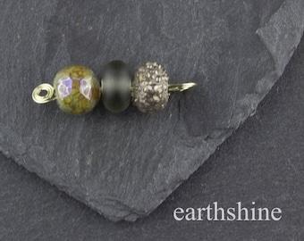 Mini lampwork glass bead set. Silver and grey