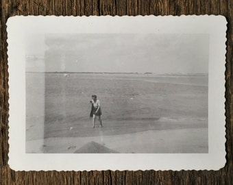 Original Vintage Photograph Beach Comber