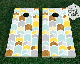 Gold Sparkle & Chevron | Cornhole Set | Corntoss | Baggo | Wedding | Outdoor Game | Party Game | Arrows | Modern