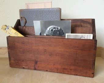 Vintage French Wooden Desk Organizer, Mail organizer. Desk Decor