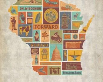 Forward - Wisconsin Culture Map Print