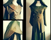 Reserved for Vinyl Faerie: Green linen Star Wars inspired long floorlength Jedi robe,  with hood and apron