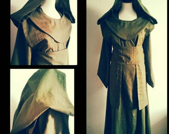 MADE TO ORDER: costum colours linen Star Wars inspired long floorlength Jedi robe, dress with hood, costume cosplay larp  pixie sf