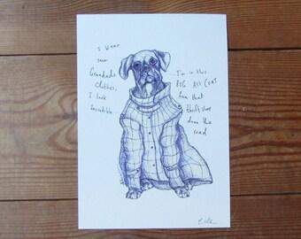 Sitting Boxer Dog A5 Print - Illustration