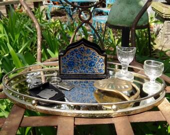 Vanity Tray, Brass Tray, Oval Tray, Mirror Tray, Tray with Rail, Boudoir, Ladies, Dresser Decor, Dressing Table, Perfume Tray, Powder Room