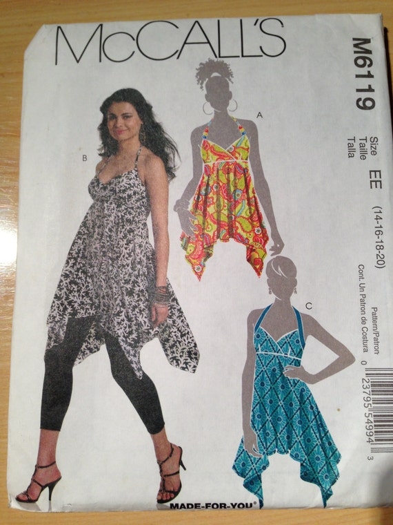 Misses Top and Tunics McCalls Sewing Pattern 6119 Size 14-20