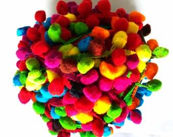 5 Yards - Pom Pom Lace - Multicolored Pom Pom Lace - Pom Pom Supply - Cushion Cover - Dress - Quilting