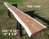 Live Edge Bar Top, Finished Red Cedar Wood Slab, Behind the Sofa Table, Natural Edge Buffet Table, Bar Top, Counter Top, Long Shelf 9003