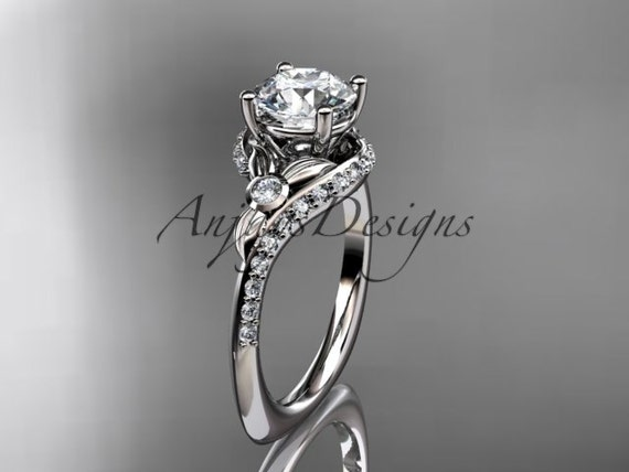 """14kt white gold diamond leaf and vine engagement ring with a """"Forever One"""" Moissanite center stone ADLR112"""
