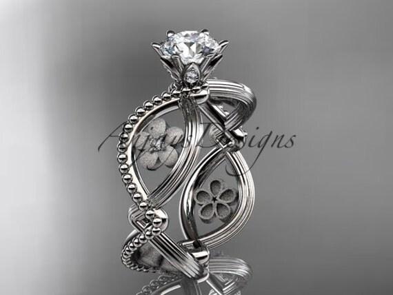 platinum diamond floral wedding ring,engagement ring ADLR192