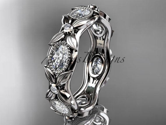 platinum diamond leaf and vine wedding ring, engagement ring ADLR152B nature inspired jewelry