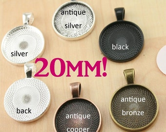 20 Kits-20mm GLASS 20), PENDANTS 20), 20mm SEALS (20 or 40), Vintage Chain- Photo Glass Jewelry, Pick your supplies. 5 Trendy Colors