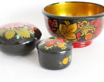 Black Lacquer Russian Hand Painted  Wooden Trinket Containers + Bowl