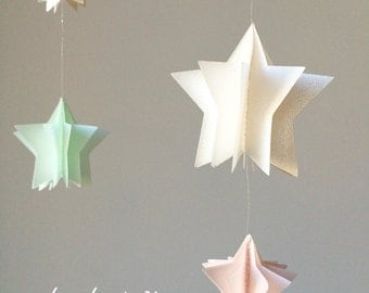 Mobile, stars, pastel colors, soft pink, mint & iridescent white
