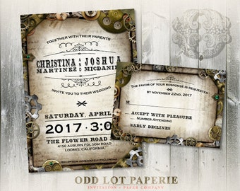 Steampunk Wedding Invitation and RSVP, Offbeat Wedding Invitation, Gears, Screws, Grommets, DIY Printable Steampunk Wedding Invitation Set
