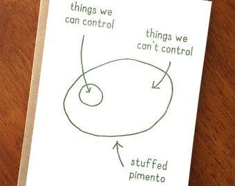 Funny Sarcastic Card; Philosophy Card; Psychology Card; Funny Comic Card; Psychology Humor; Acceptance Prayer; Food Humor; Pimento