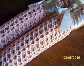 Peach Slip-Free Crocheted Covered Padded Hanger