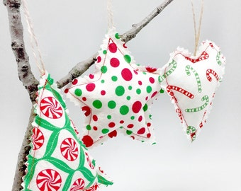 Fabric christmas ornament holiday tree hanging decor, shabby chic fabric tree ornament stocking filler christmas gift