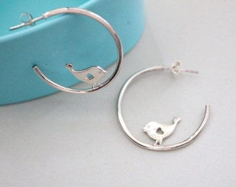 Bird earrings. Silver bird hoops earrings.  Silver bird earrings. Bridesmaid gift. Nature. Woodlands. Bird lover