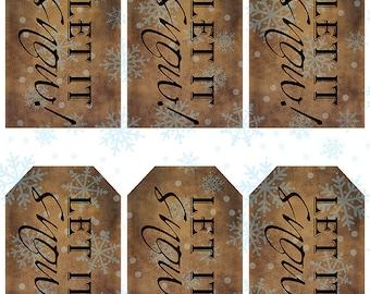 grungy tag set, craft supplies, primitive, hang tags, printables, scrapbooking - let it snow - digital PDF & jpeg - LSGT01