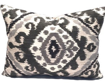 Black Ikat Pillow, 12x16 or 12x18, Black Pillow Cover, Black Pillow Cover, Decorative Pillow, Throw Pillow, Charcoal, Gray Cushion Cover. cm