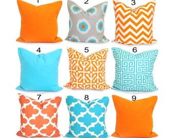 Orange Pillows, Blue Pillows, ALL SIZES, Pillow Covers, Decorative Pillow, Home Decor, Solid Blue, Solid Orange, Blue Chevron, Ikat, Cushion