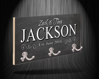Chalkboard Style Personalized Printed Coat Rack / Gift Idea / Family Name / Home Decor / Coat Hanger / Gift for Family / Custom / Present