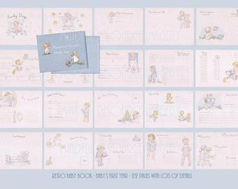 Printable Blue Baby Book Retro Baby's First Year Detailed 40s Style Digital Download New Baby DIY Baby Shower Craft Supply