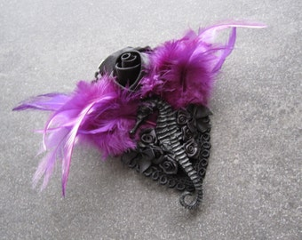 SPECIAL OFFER, Fascinator Headpiece Headdress Purple Black Dark Romantic Roses Bows Feathers Seahorse Replica Gothic Burlesque