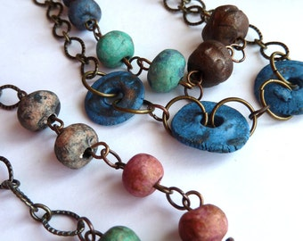 Necklace, Long Stoneware Clay Bead Necklace, Handmade Clay Beads, Multi Coloured Beads Necklace, Antique Brass and Handmade Bead Necklace