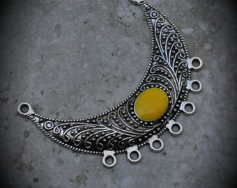 Silver Plated Pendant With Yellow Enamel